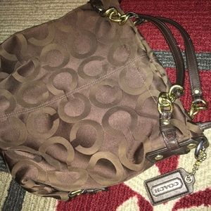 100% Authentic COACH 14147 Brown Sateen Hobo Purse